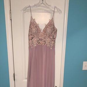 Prom Girl Long V-Neck Open Back Chiffon Dress